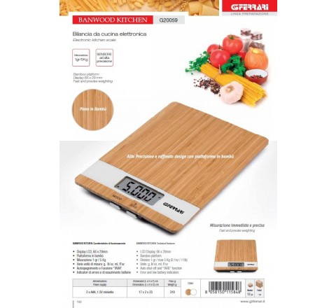 Bilancia da cucina digitale banwood kitchen in bamboo max 5 kg div.1 gr