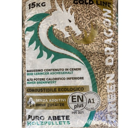 Pellet green dragon gold 15 kg 100% naturale - 100% pellet legno