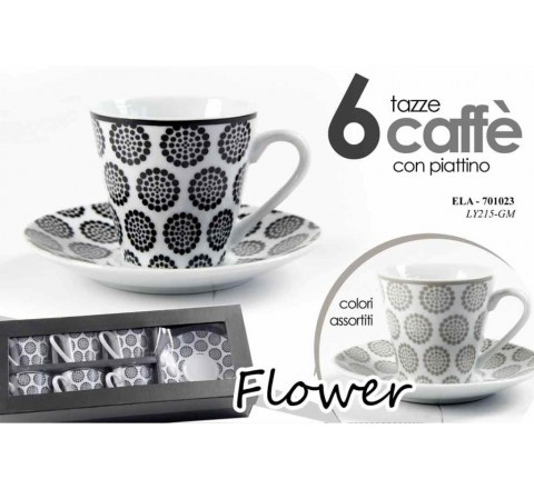 Tazze caffe' a 6 fashion assortiti c piattini