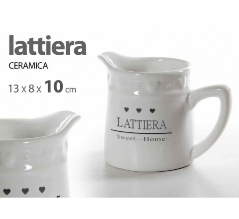 Lattiera ceramica bianca 10cm 710353 sweet home