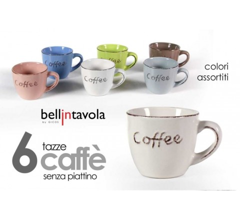 Tazze caffe' a 6 coffee s piattini 100 ml