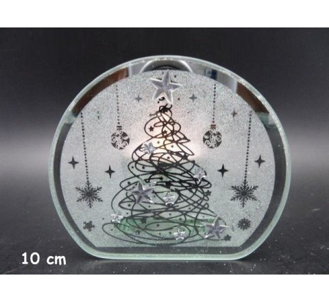 Portacandela vetro + tea-light 10cm natale 433643