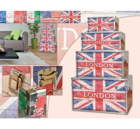 Scatola Baule Pouf flag Inghilterra London small 22 x 49 x 28,5 cm